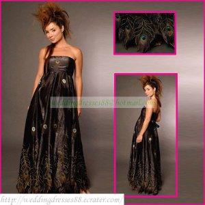 Strapless Black Taffeta Empire Maternity Bridal Dress Applique Peacock Feather Wedding Dress