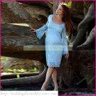 Long Sleeves White Lace Empire Maternity Bridal Dress Tea-length Beaded Wedding Dress