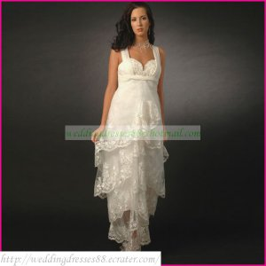 Double Straps White Tulle Empire Maternity Bridal Dress Ruffled Applique Lace Beaded Wedding Dress