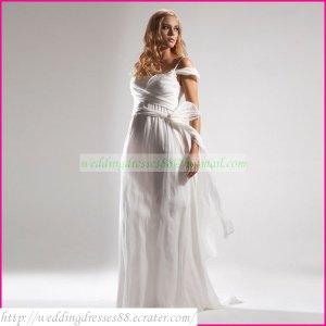 Double Spaghetti White Chiffon Empire Maternity Bridal Dress Ruffled Wedding Dress Bridal Gown