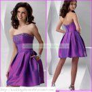 2012 Hot Sale Strapless Purple Taffeta Beaded Cocktail Dress Homecoming Dress Graduation Dress C001