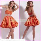 2012 Hot Sale Strapless Orange Taffeta Beaded Cocktail Dress Homecoming Dress Graduation Dress C003