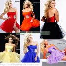 2012 Hot Sale Strapless  Black Red Organza Cocktail Dress Homecoming Dress Graduation Dress C004