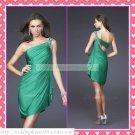 2012 Hot Sale One Shoulder Green Satin Beaded Cocktail Dress Homecoming Dress Graduation Dress C005