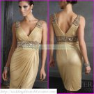 2012 Hot Sale Double Straps Gold Stretch Satin Ruffled Beaded Cocktail Dress Homecoming Dress C007