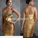 2012 Hot Sale Strapless Gold Stretch Satin Ruffled Beaded Cocktail Dress Homecoming Dress C008