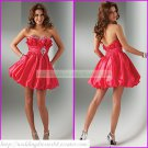 2012 Hot Sale Strapless Red Taffeta Ruffled Beaded Cocktail Dress Homecoming Dress C012