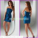 2012 Hot Sale Strapless Blue Taffeta Ruffled Beaded Cocktail Dress Homecoming Dress C015