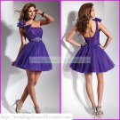 2012 Hot Sale  One Shoulder Purple Organza Ruffled Beaded Cocktail Dress Homecoming Dress C016