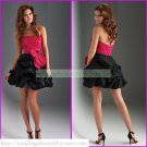 2012 Hot Sale  Strapless Red Black Satin Ruffled Bowknot Cocktail Dress Homecoming Dress C018
