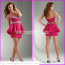 2012 Hot Sale Strapless Red Taffeta Ruffled Beaded Cocktail Dress Homecoming Dress C019