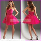 2012 Hot Sale Strapless Red Taffeta Organza Ruffled Beaded Cocktail Dress Homecoming Dress C020