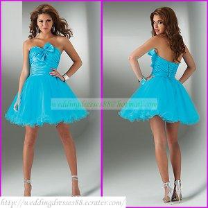 2012 Hot Sale Strapless Blue Taffeta Organza Ruffled Cocktail Dress Homecoming Dress C021