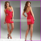 2012 Hot Sale Strapless Red Satin Ruffled Beaded Cocktail Dress Homecoming Dress C022
