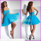 2012 Hot Sale Strapless Blue Organza Ruffled Beaded Cocktail Dress Homecoming Dress C023