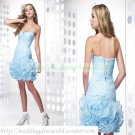 2012 Hot Sale Strapless Blue Organza Ruffled Beaded Cocktail Dress Homecoming Dress C024