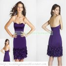 2012 Hot Sale Strapless Purple Satin Beaded Bowknot Cocktail Dress Homecoming Dress C025