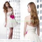 2012 Strapless White Organza Ruffled Beaded Red Bowknot Cocktail Dress Homecoming Dress C027