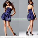 2012 Hot Sale Strapless Blue Taffeta Ruffled Cocktail Dress Homecoming Dress C029