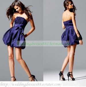 2012 Hot Sale Strapless Blue Taffeta Ruffled Cocktail Dress Homecoming Dress C029