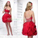 2012 Hot Sale Strapless Red Taffeta Ruffled Beaded Cocktail Dress Homecoming Dress C031