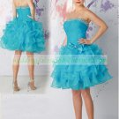2012 Double Spaghetti Pink Organza Ruffled Beaded Cocktail Dress Homecoming Dress C033