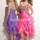 2012 Hot Sale  One Shoulder Purple Red Organza Ruffled Beaded Cocktail Dress Homecoming Dress C035