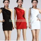 2012 Hot Sale One Shoulder Black Red White Satin Ruffled Beaded Cocktail Dress Homecoming Dress C036