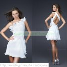 2012 Hot Sale One Shoulder White Chiffon Satin Ruffled Cocktail Dress Homecoming Dress C037