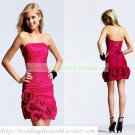 2012 Hot Sale Strapless Red Taffeta Ruffled Hand Flower Cocktail Dress Homecoming Dress C039