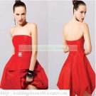 2012 Hot Sale Strapless Red Taffeta Ruffled Cocktail Dress Homecoming Dress C040
