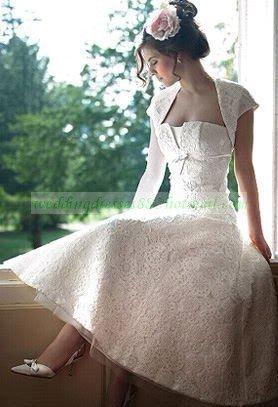 Strapless White Venice Lace  Wedding Dress Tea-length Wedding Dress With Jacket