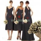 Double Straps Brown Taffeta Ruffled Bridesmiad Dress Evening DressB1- A