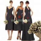 Strapless Brown Taffeta Ruffled Tea-length Bridesmiad Dress Evening DressB1- B