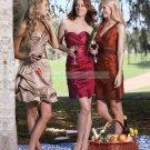 Double Straps Chocolate Taffeta Ruffled Tea-length Bridesmiad Dress Evening Dress B3-C
