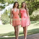 Halter Pink Chiffon Ruffled Tea-length Bridesmiad Dress Evening Dress B4-A