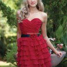 Strapless Red Chiffon Ruffled Flower  Tea-length Bridesmiad Dress Evening Dress B5