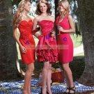 Strapless Red Satin Ruffled Flower Tea-length Bridesmiad Dress Evening Dress B7-A