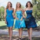 Strapless Blue Satin Black Organza Ruffled Tea-length Bridesmiad Dress Evening Dress B8-C