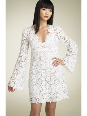 2012 New Long Sleeve White Lace Knee Length Bridal Dress Custom V Neck Short Wedding Dress