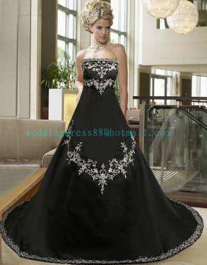 Hot Sale Strapless Black Satin Embroidery A-line Wedding Dress Bridal Dress  D12