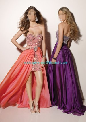 Free Shipping 2012 Hot Sale Strapless Pink Purple Satin Chiffon Beaded Prom Dress