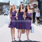 2012 Hot Sale Double Straps V-neck Purple Taffeta Ruffled Bridesmiad Dress Evening Dress B12-A