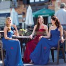 2012 Hot Sale Strapless Wine Stretch Satin Ruffled Flower Bridesmiad Dress Evening Dress B15-B