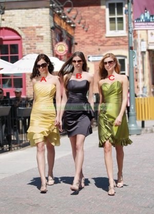 2012 Hot Sale Strapless Green Taffeta Ruffled Tea-length Bridesmiad Dress B18-C