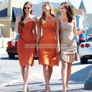 2012 Hot Sale Strapless Orange Taffeta Ruffled Tea-length Bridesmiad Dress B19-A