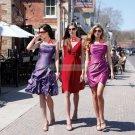2012 Hot Sale Strapless Purple Taffeta Ruffled Tea-length Bridesmiad Dress B20-A