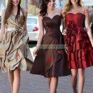 2012 Hot Sale Strapless Champagne Taffeta Ruffled Tea-length Bridesmiad Dress B22-A