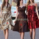 2012 Hot Sale Strapless Brown Taffeta Ruffled Tea-length Bridesmiad Dress B22-B