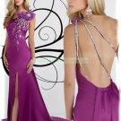 2012 Hot Sale One Shoulder Purple Stretch Satin Bowknot Beaded Evening Dress Party Dress e1